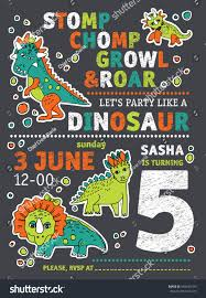 invitation dinosaurs party birthday color vector stock vector