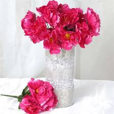 silk flowers wholesale 60 silk peony fushia silk flowers factory