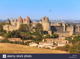 carcassonne la cite historic fortified city from elevated viewpoint stock