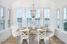 Dining Chairs White Wood French White X Back Dining Chairs With Gray Beaded Chandelier