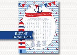 nautical baby shower word search game card instant download
