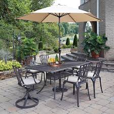 7 Piece Aluminum Patio Dining Set - home styles floral blossom taupe 7 piece patio dining set with