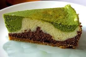 chocolate vanilla green tea cheesecake