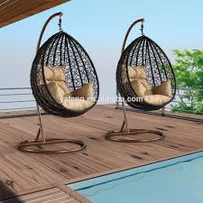 Hanging Patio Swing Chair High Quality Black Color Synthetic Rattan Garden Hanging Chair