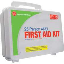 genuine first aid 25 person ansi osha kit u2014 plastic case model