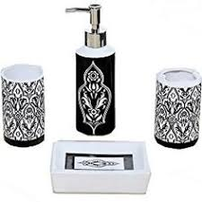 Damask Bathroom Accessories Black White Damask Bath Accessory 4 Piece Set Overstock Com