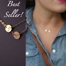personalized initial necklaces layered initial necklace two discs gosia meyer