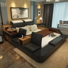 smart bed in a modern bedroom with a lot of devices smart