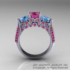rings pink stones images Classic 14k white gold three stone blue topaz pink sapphire jpg
