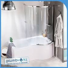 prestige 1500 p shaped bath with screen front panel plumbworkz
