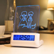 online shop 2 shape lcd digital alarm clock vertical message board