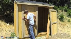 Free Plans How To Build A Wooden Shed by How To Build A Lean To Shed Part 8 Double Door Build Youtube