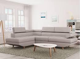 revetement canapé d angle canapé d angle style scandinave pieds bois avec revêtement tissu beige