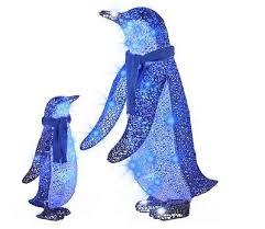 gemmy lighted penguin outdoor decoration w blue led