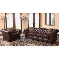 Abbyson Leather Sofa Reviews Abbyson Carmela Brown Top Grain Leather Chesterfield Sofa