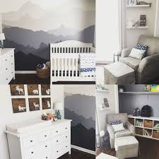 woodland nursery gender neutral mountain mural gray and white