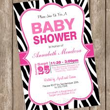 zebra baby shower girl baby shower invitation hot pink and black zebra baby