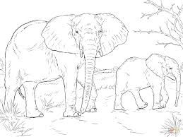 african elephant mother and baby coloring page free printable