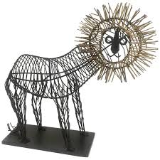 metal lion sculpture whimsical metal wire lion sculpture unsigned in the style of c