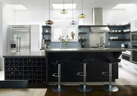 modern kitchen design with wooden kitchen island with granite plus
