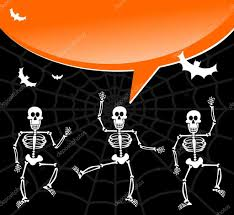 halloween dancing skeleton halloween skeletons with spiderweb and bubble background u2014 stock
