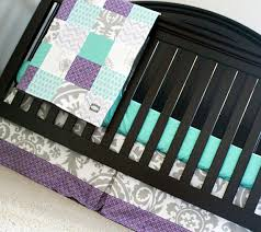 Lavender And Grey Crib Bedding Custom Baby Bedding Aqua Purple And Grey Let Them Be
