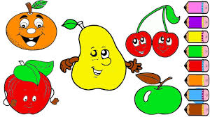 drawing fruits coloring page for kids youtube
