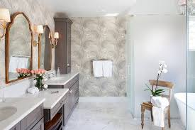 Gold Mirror Bathroom Brown Bath Cabinets With Gold Arch Mirrors Transitional Bathroom