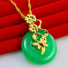 jade with gold necklace images Chikage jewelry gold necklace pendant style gold inlaid jade jpg