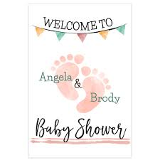 foot print welcome sign for baby shower personalized poster