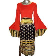 vintage boho 1960 maxi fluid dress bat sleeves color block jersey
