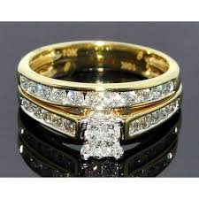 yellow gold bridal sets diamond wedding set princess cut engagement ring band