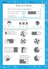 fractions of shapes fifths and tenths math practice worksheet