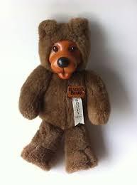 wooden faced teddy bears vtg original robert raikes bears 13 brown plush wood paw