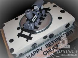 Chocolate Accents by Stream Engine Retirement Cake In Black White And Silver