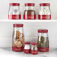 red kitchen canister sabichi 7 piece red kitchen canister set http avhts com