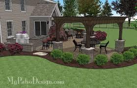 Backyard Brick Patio Design With 12 X 12 Pergola Grill Station by Large Paver Patio Design With Pergola And Grill Station Bar