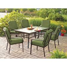 Green Patio Chairs Mainstays Crossman 7 Patio Dining Set Green Seats 6