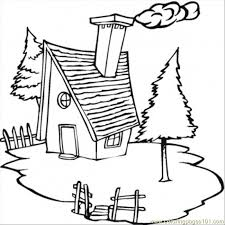 cold cottage in the village coloring page free houses coloring