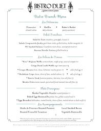 menu for brunch brunch menu bistro duet