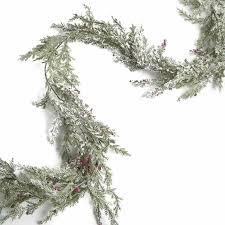 sparkling frosted artificial juniper garland artificial greenery