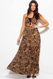 sun dress shop brown abstract animal print cut out halter cross back maxi