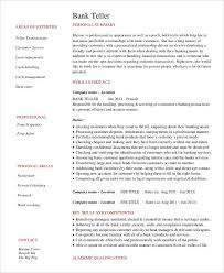 Banker Resume Sample by Free Banking Resumes 43 Free Word Pdf Documents Download