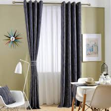 Contemporary Blackout Curtains Green Lace Linen Cotton Blend Jacquard Contemporary Blackout