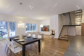 designers house designers interior dining room in modern minimalistic house stock