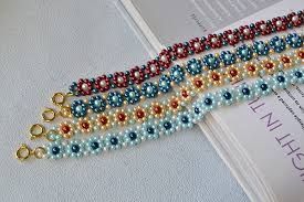 colored pearl bracelet images Making fresh colored pearl beaded flower bracelets carol 39 s jpg