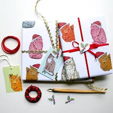 christmas gift wrap sets cat christmas wrapping paper gift set by green christmas