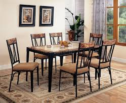 black metal base faux marble top modern pc dining set with marble