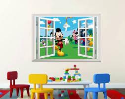 chambre mickey mouse disney mickey mouse house 3d window scenery wall decal