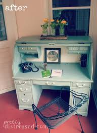 How To Refinish Desk Oak Roll Top Desk After Refinished With Annie Sloan Chalk Paint